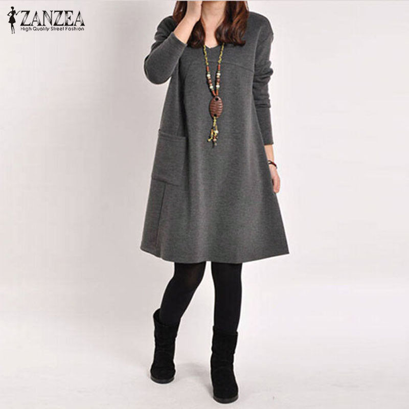 ZANZEA Outono Inverno Blusas Longas 2019 Mulheres Bolso Manga Longa Vestido Sólida O Pescoço Casual Solto Vestidos Vestidos Plus Size s-5XL