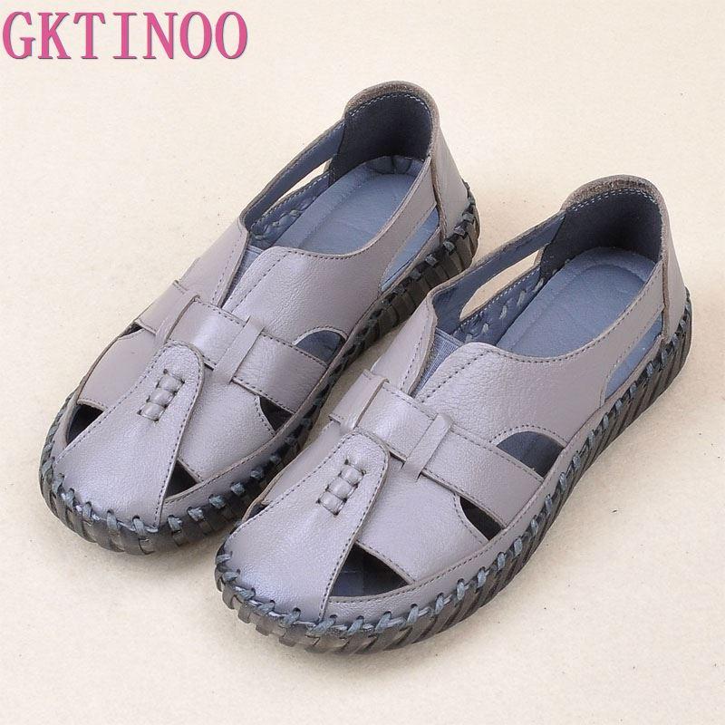 GKTINOO Women s Sandals 2019 Summer Genuine Leather Handmade Ladies Shoe Leather Sandals Women Flats Retro