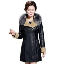 Thicken Warm Leather Jacket Women Winter Jacket Female Clothing 2017 High Quality European Parka Natural raccoon fur collar 6XL