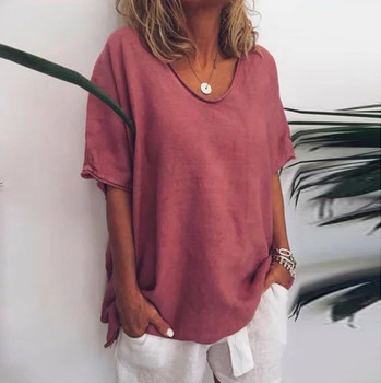 Plus Size Summer Solid Blouse Lady Loose Tops Cotton Linen Blouse Female Women Short Sleeve Shirt Blusas Femininas Pullover #LR4 фото