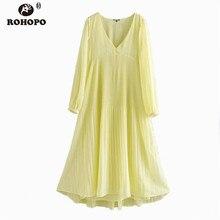 ROHOPO Women Long Sleeve Chiffon Yellow Midi Dress Lantern Sleeve Maxi Pleated Chic Casual Multiwys Flared Dress #UK9286 raglan sleeve chiffon maxi dress