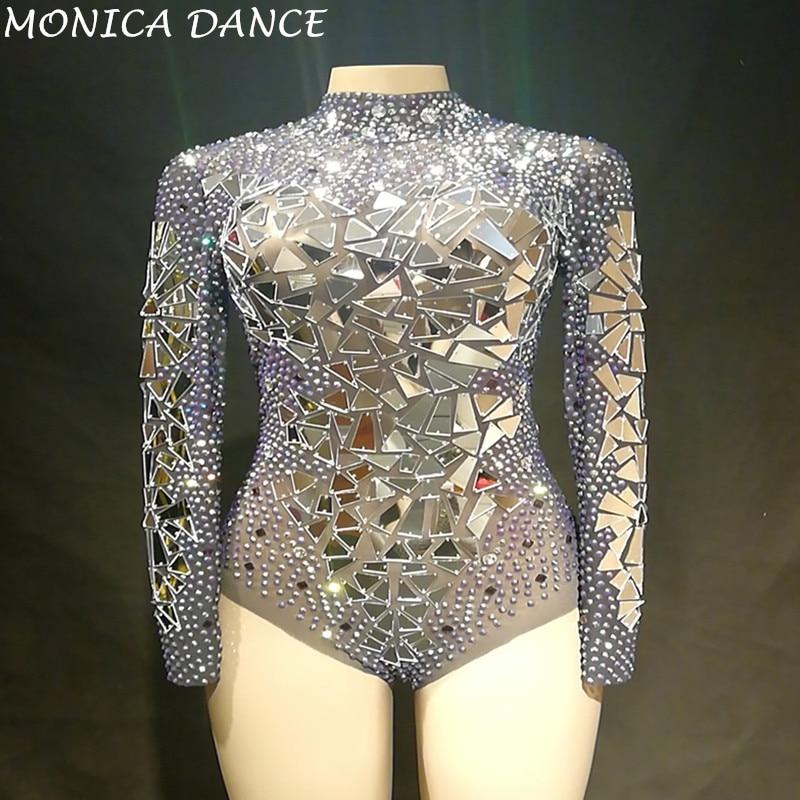 9f3fc55c7d37 Women Sexy Transparent Net Yarn Costume Stage Dance Wear Mirrors Stones  Mesh Bodysuit Leotard Dance Performance