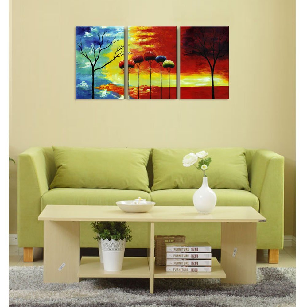 Modern Canvas Wall Art Prints Abstract Forest Painting Printed on ...