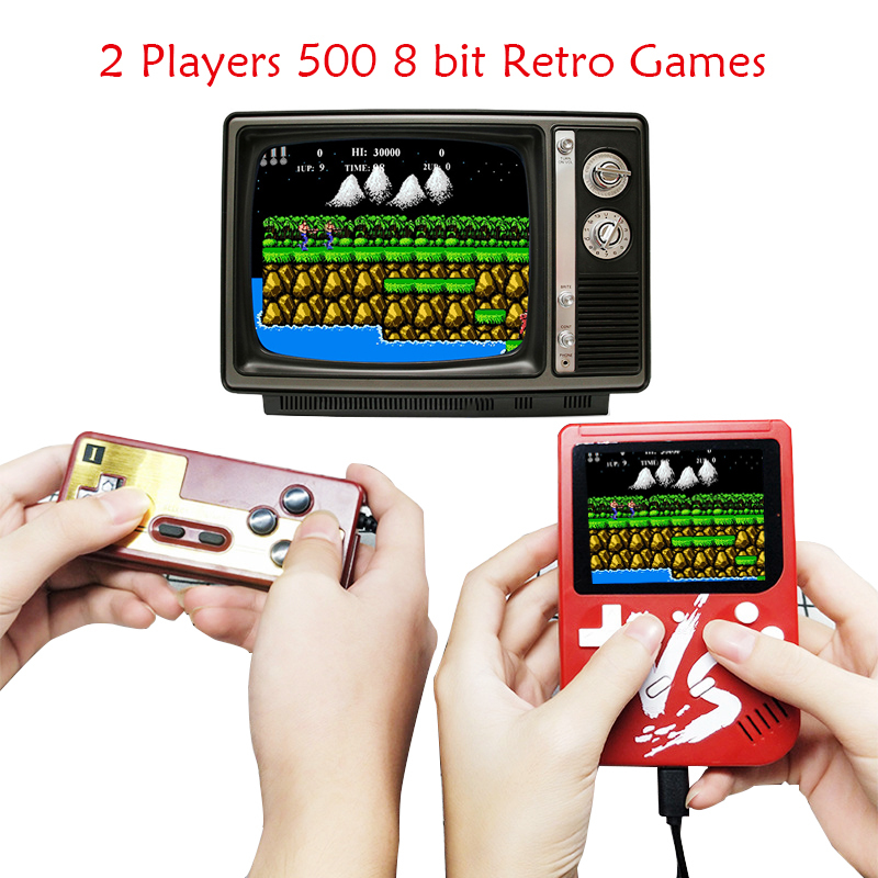 8 bit Handheld Game Console with 500 in 1 Games( Portable, Best Child Gift, AV output) Support 2 Players Same Time