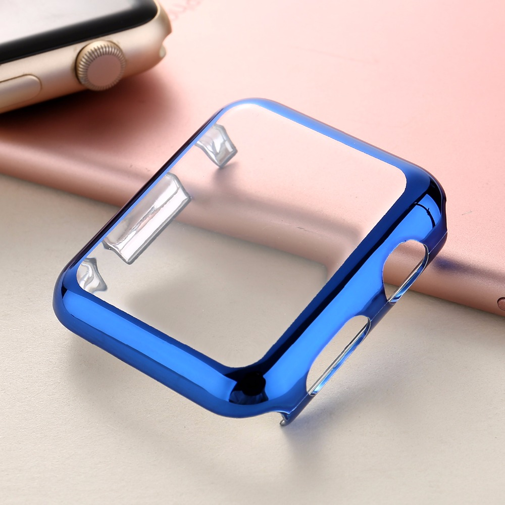 Series 1/2 Watch Case Electroplating Plastic Hard PC Cover Screen Protector for Apple Watch 38/42mm Rose Gold Silver Black I142. hard plastic case guard protector black for micro switch