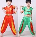yellow green Children Chinese traditional Wushu performance Costume Kimono Judo clothing Kung Fu Suit Tai Chi Martial Uniform