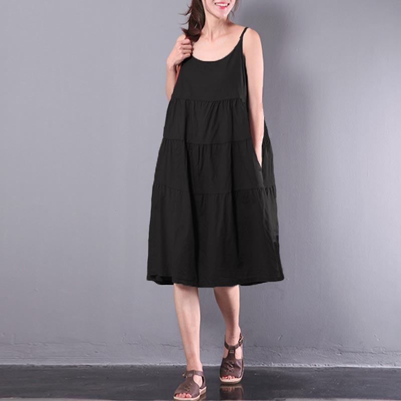 2018 ZANZEA Women Summer Strappy Sleeveless Cotton Linen Solid Pleated Loose Dungarees Vestido Party Beach Slip Dress Plus Size