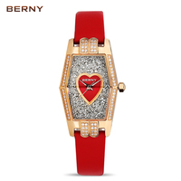 BERNY Famous Brand Gold Luxury Watch Women Roles Quartz Clock Women Es Dress Watches Waterproof Red