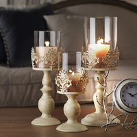 Home Wedding Table Decoration Candle Holder European Style Wrought Iron Glass Candlestick Metal Crafts Creative Christmas