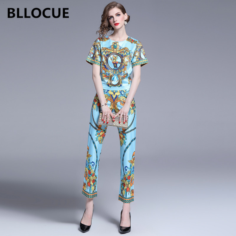 BLLOCUE 2019 Summer Runway Designer 2 piece Set Vintage Flower Print Top Pencil Pants Chic Women