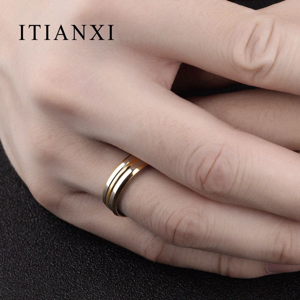 ITIANXI Punk Gold Color Strip Ring For Men Smooth Design Stainless ...