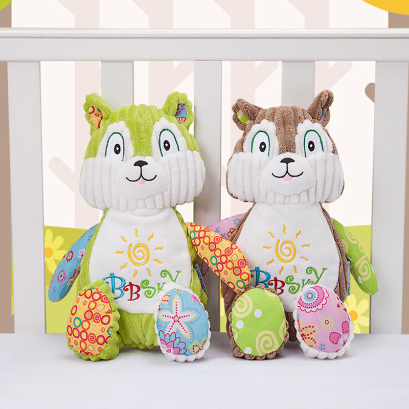 Best Sale High Quality Cartoon Animal Squirrel Appease Doll Plush Toy Baby Companion Doll With BB Device Sonajas Rammelaars