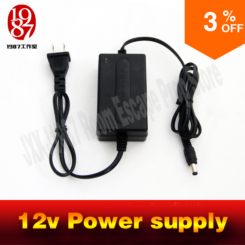 где купить room escape game prop 12v 2A power supply power adapter for puzzle props дешево
