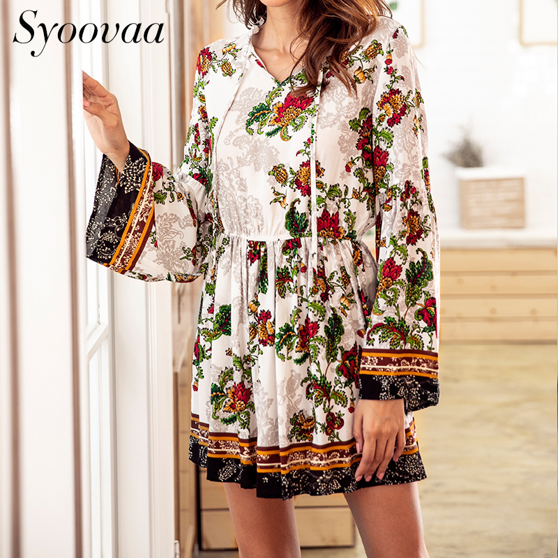 Syoovaa Vintage Floral Print Plus Size Women Dresses Autumn Full Long Flare Sleeve Bohemian Dress Winter Casual A Line Dress