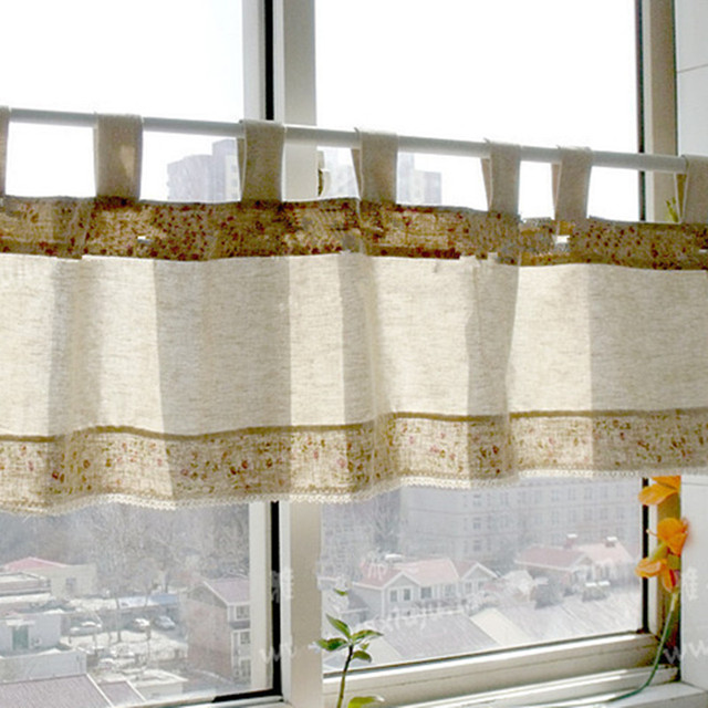 US $13.0 | Korean Style Cotton Linen Floral Printed Lace Sling Short  Curtain Kitchen Decorative Curtain Coffee Curtain 40*150cm -in Curtains  from Home ...