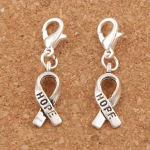 Hope Ribbon Charms Heart Floating Lobster Clasps Charm Beads 7.6x33mm 30pcs Antique Silver C088