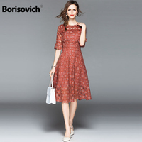 Borisovich Women Lace Casual Dress New 2018 Summer Fashion Hollow Out Lace Flare Sleeve Elegant Slim Ladies Party Dresses M506