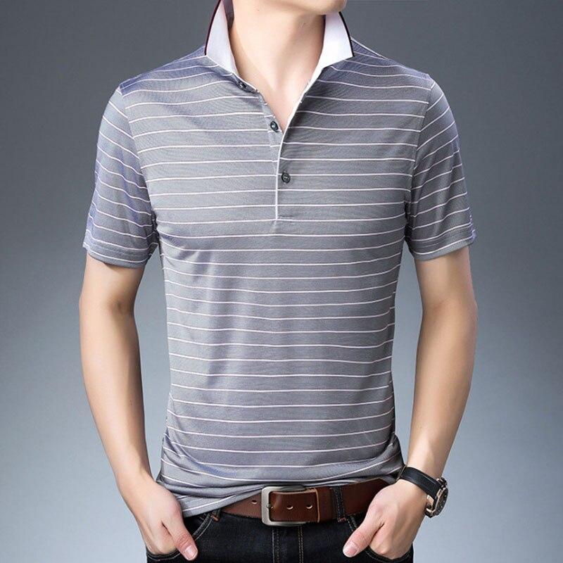 Livraison directe nouveau été hommes d'affaires décontracté respirant rayé à manches courtes marques hommes Polo chemise de haute qualité en soie