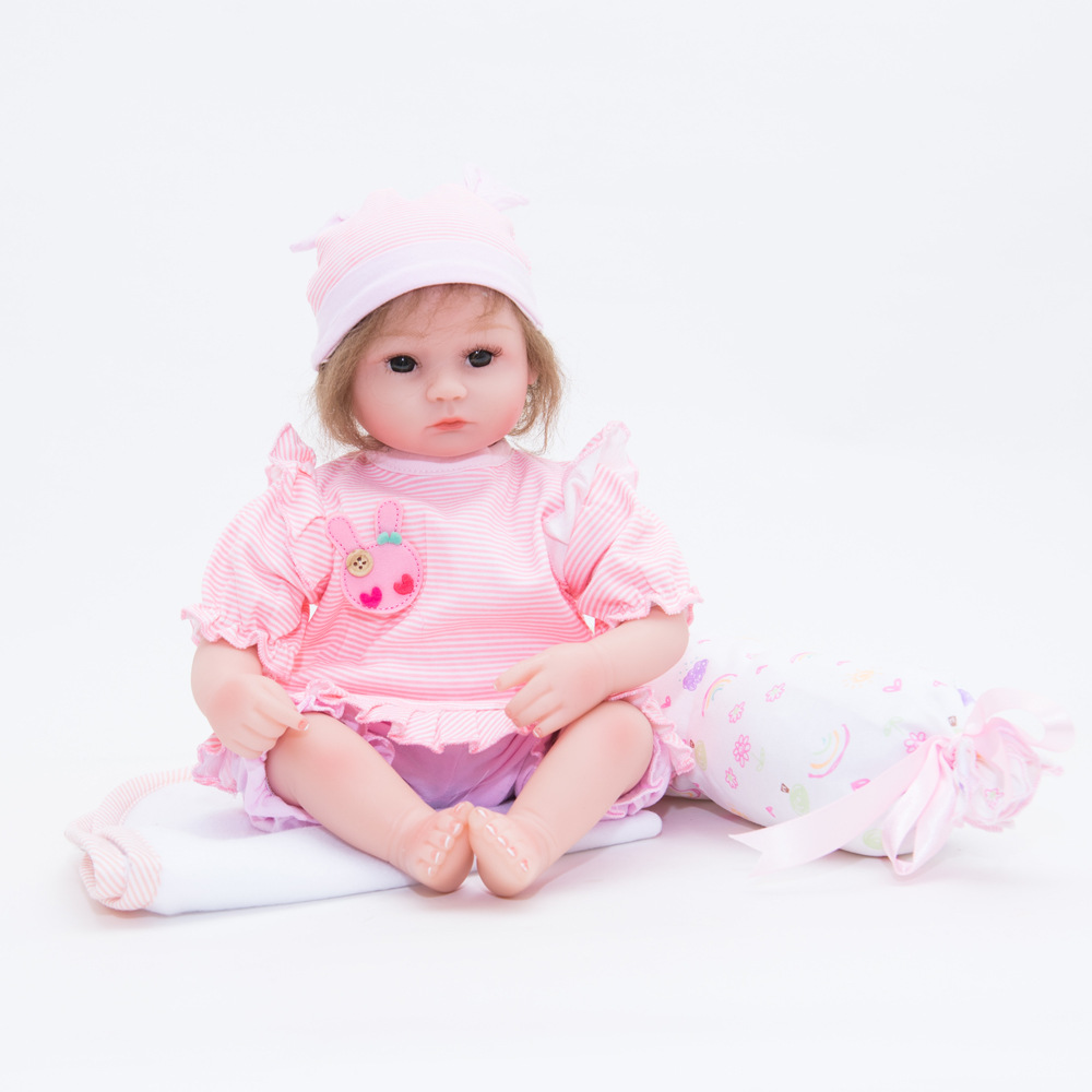 45cm Lifelike Reborn Girl Doll Soft Silicone Lovely Princess Newborn Baby with Cloth Body Toy for Kids Birthday Christmas Gift nicery 18inch 45cm reborn baby doll magnetic mouth soft silicone lifelike girl toy gift for children christmas pink hat close