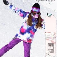 SIMAINING 2018 лыжный костюм для женщин сноуборд куртка + Mountain Лыжный Спорт брюки для девочек водостойкие дышащие уличные зимние теплое пальт