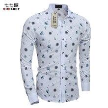 b2a5d4f9f7d8e Primavera otoño moda imprimir floral camisa de manga larga hombres slim fit  Corea Hawaiano Camisas casual Camisa social masculin.