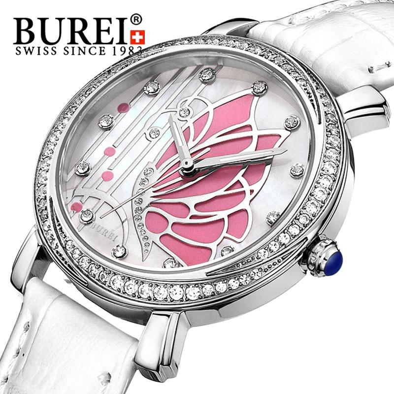 BUREI 2016 Luxury Fashion Women Watch Leather Band Analog Quartz Waterproof Wristwatch Lady Rhinestone Casual Clock