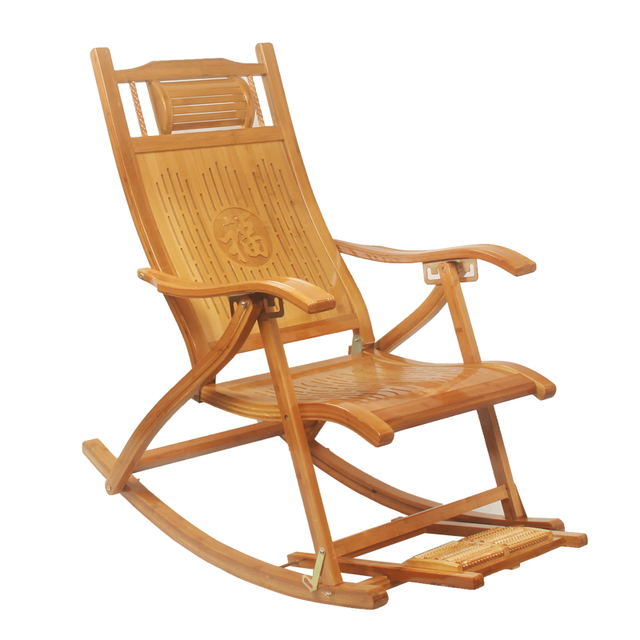 Modern Foldadble Bamboo Rocking Chair Recliner with Foot Rest Indoor ...