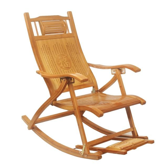 Modern foldadble Bamboo mecedora reclinable con reposapiés interior ...