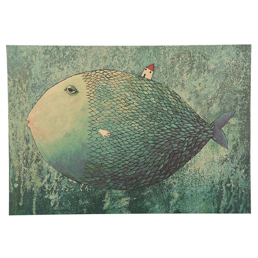 1 PCS Vintage Big Fish Small House Cartoon Illustration Kraft Paper Poster Bedroom Adornment Wall Sticker