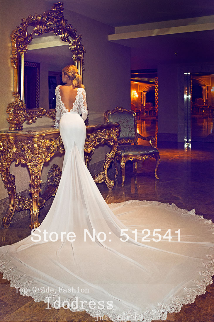 Backless V Neck Trumpet Mermaid Chaple Train 2015 Wedding Dresses ...