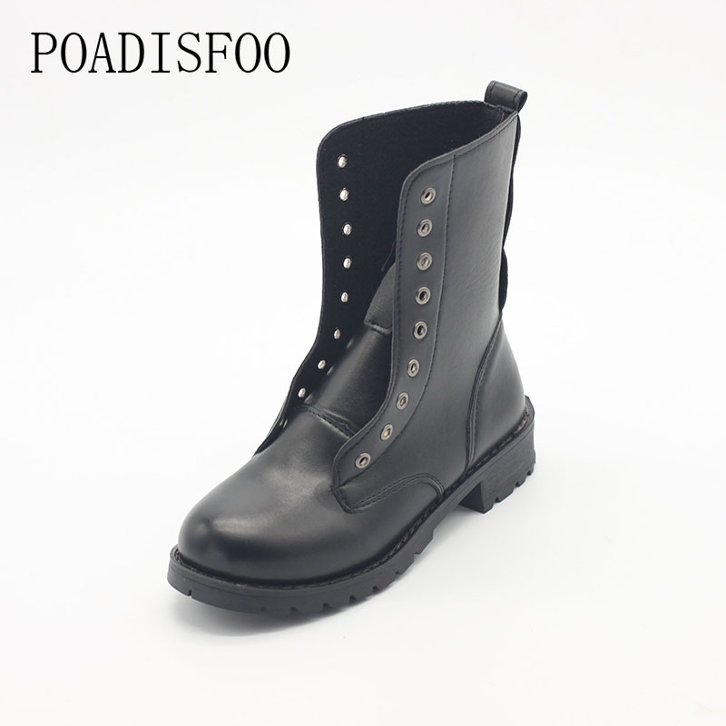 Shoes Woman Shoes For Women Short Boots Thick Martin Boots Line Skin Buckle Boots Short Black