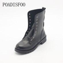 Обувь женская обувь для женские короткие ботинки «мартенс» на толстой подошве ботинки из искусственной кожи, с пряжками короткие черные ботинки женские Обувь. DFGD-805