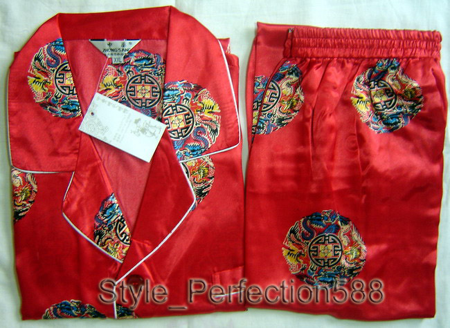 Free shipping ! Red Mens Polyester Satin Robe Pajama Sets Sleepwear Nightwear SIZE S M L XL XXL XXXL ZT-1