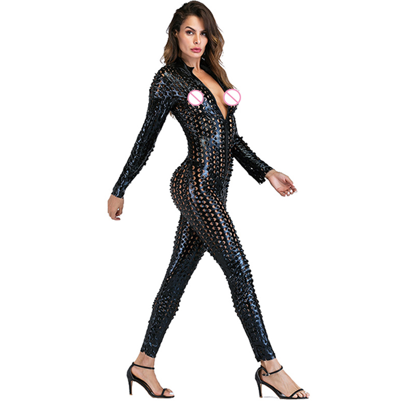Gothic Punk Rock Scaly One Piece Jumpsuit Women Metallic Hollow Out Catsuits Sexy Wet Look Vinyl Leather Bodysuit Black Gold (6)