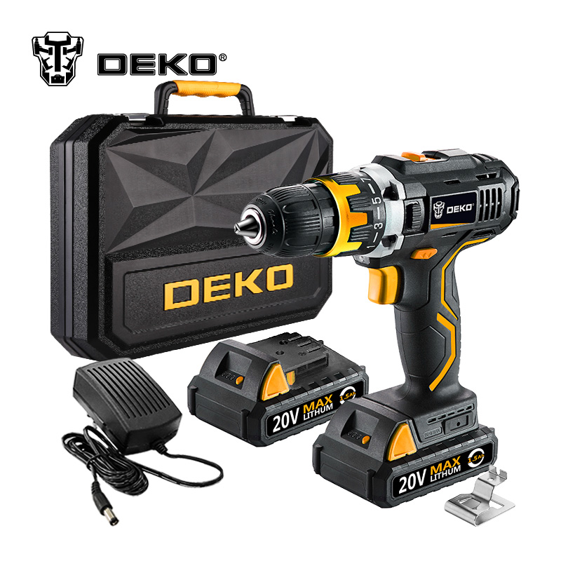 DEKO GCD20DU2Y 20Volt Max DC Lithium Ion Battery 1/2 Inch 2 Speed Electric Cordless Drill Mini Screwdriver Wireless Power Driver