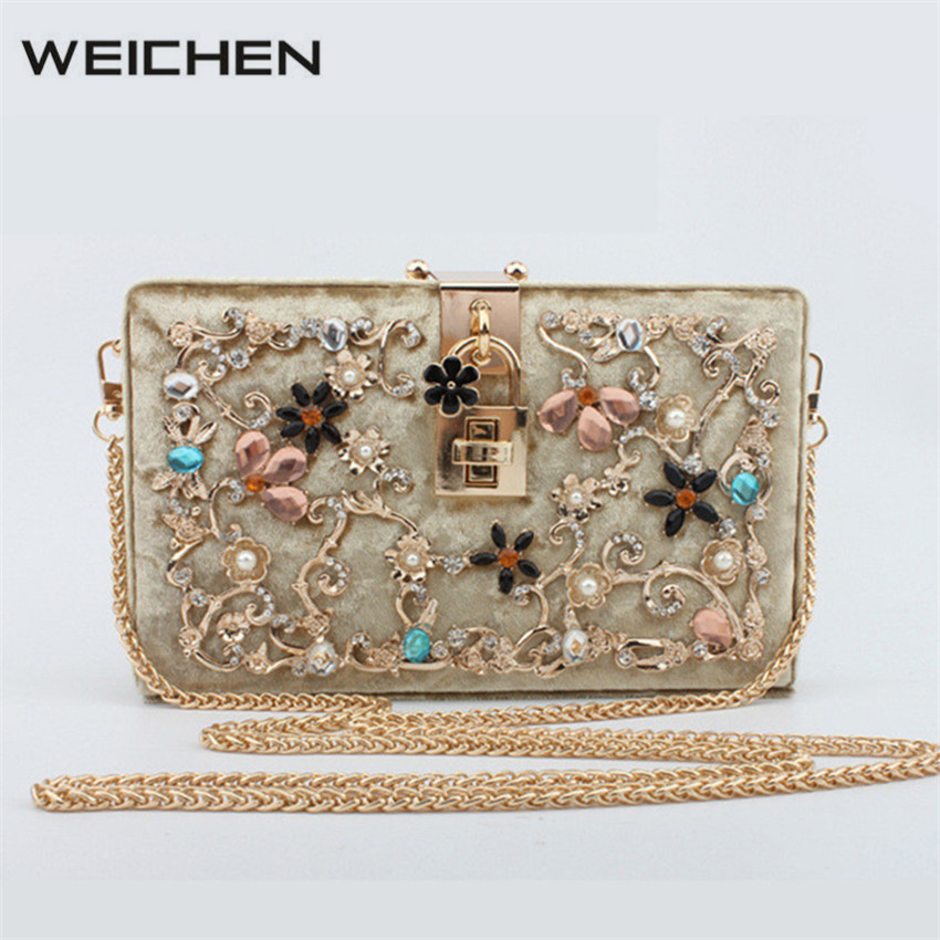 ФОТО Fashion Trunk Women Gold Diamond Crystal Decor Handbags Velvet Messenger Bags with Chains Prom Clutch Bag Purse Shoulder Bags