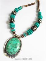 TNL552 Tibetan handmade Green Turquoise Big Pendant beaded necklace Nepal Indian vintage ethnic jewelry wholesle Tibet jewel