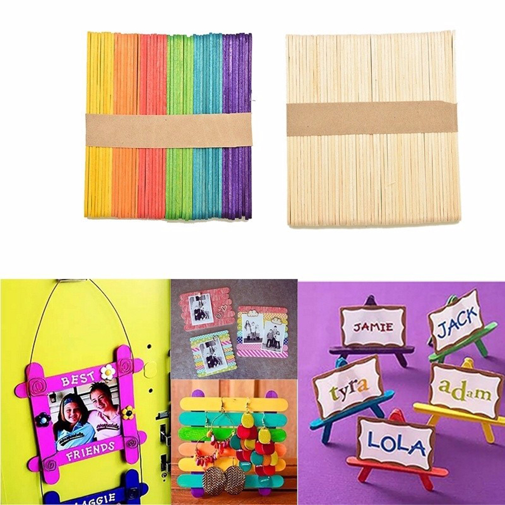 50pcs Lot Colored Wooden Popsicle Sticks Natural Wood Ice Cream