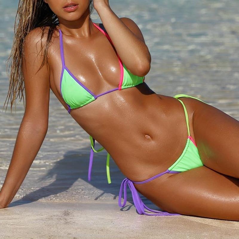Women Swimsuit Bikini Push Up Padded Bikinis Set Sexy Swimwear Letter Beachwear
