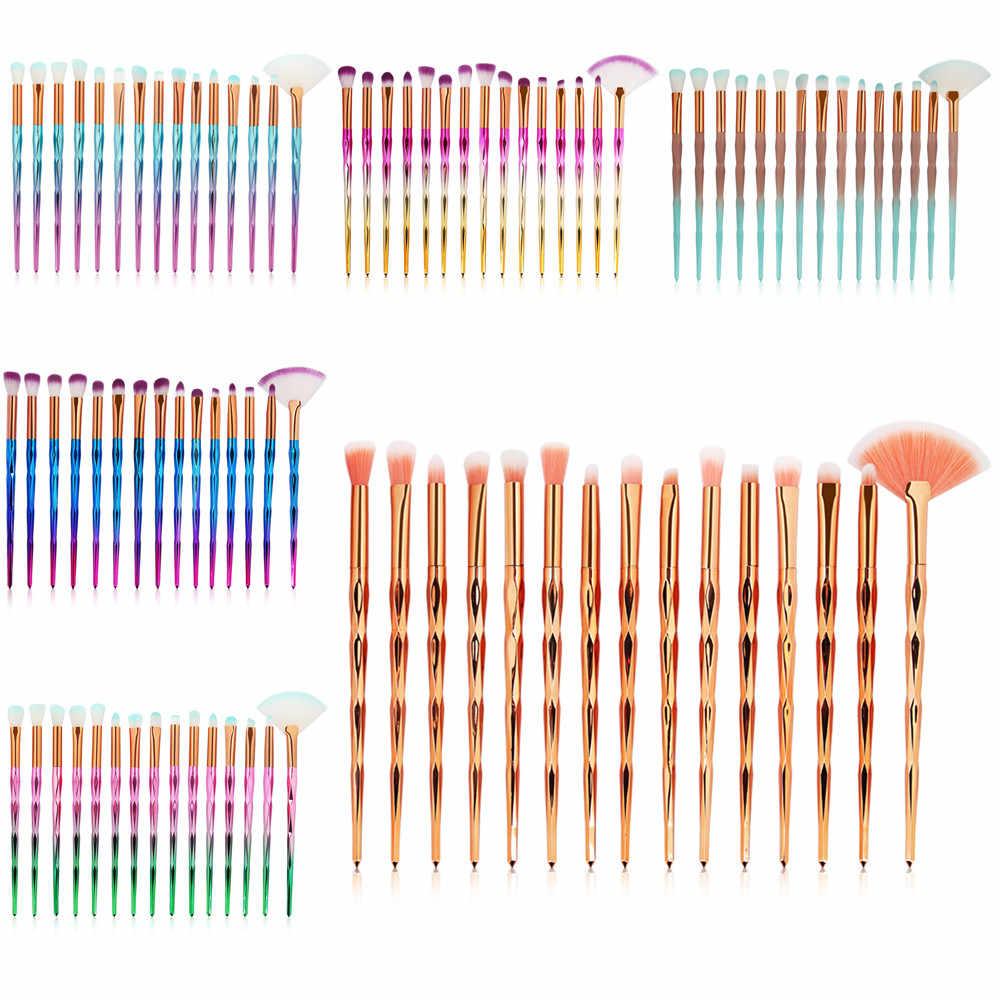 2019 Baru Kedatangan 15 PC Make-Up Brushes Set Foundation Kosmetik Mermaid Foundation Eyeshadow Kontur Mata Bibir Makeup Brushes set