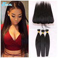 "13""*4"" Straight Ear To Ear Lace Frontal Closure With Bundles 2/3/4 Pcs7A Brazilian Virgin Hair With Frontal Closure Bundle"