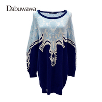 Dabuwawa Blue Winter Long Sleeve Casual Knitted Dresses High Quality Vintage Floral Print Sweater Dress