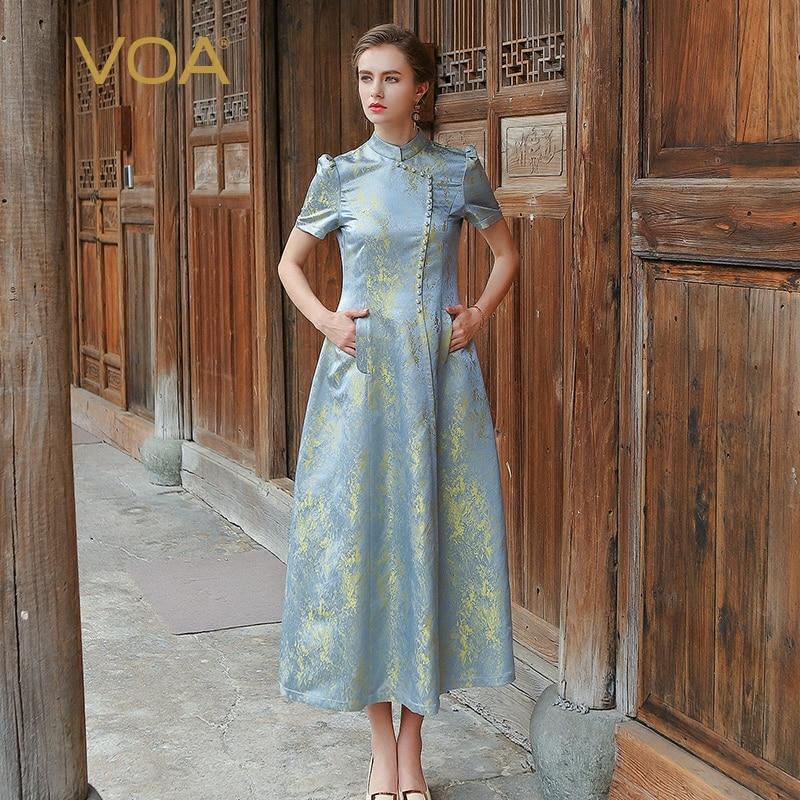VOA Seda Jacquard Plus Size Vestidos 5XL Cinza de Prata Botões de Pérola Do Vintage Mulheres De Cintura Alta Magro Túnica Vestido Longo Verão ALX01301