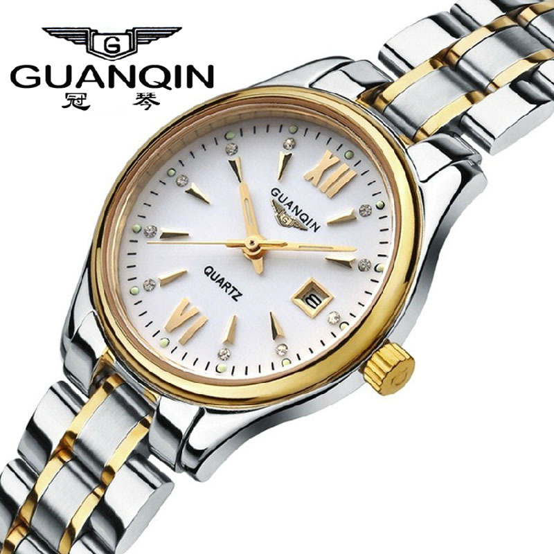 100% Original GUANQIN Watches Women Fashion Casual Stainless Steel Watchband Waterproof Dress Quartz-Watch Relogio Feminino Gift