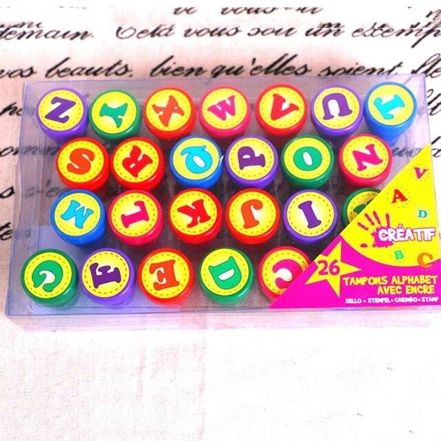 New 26 Pcs DIY Letter Alphabet Stamp Toy Sets Teach Kids And Number Stamps Set