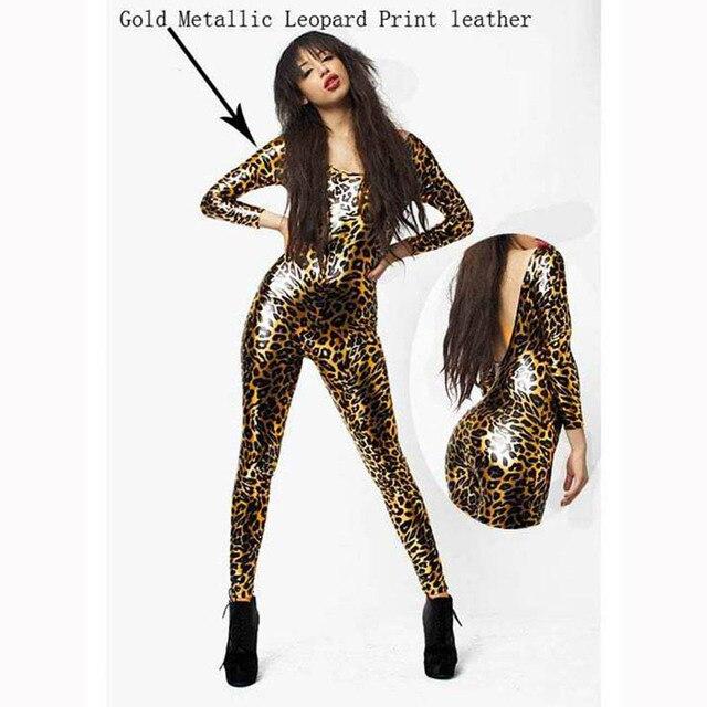 e7113e903f818 Fashion New Hot Sale Golden Regural Full Square Neck Women Fashion Spring  Autumn Full Length Leopard Jumpsuit W7951