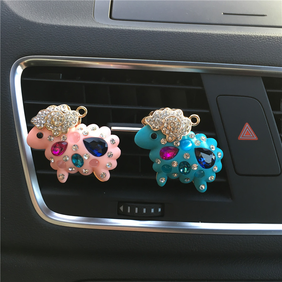 Lovely metal sheep model car perfume clip Colored diamond Ladies air freshener accessories