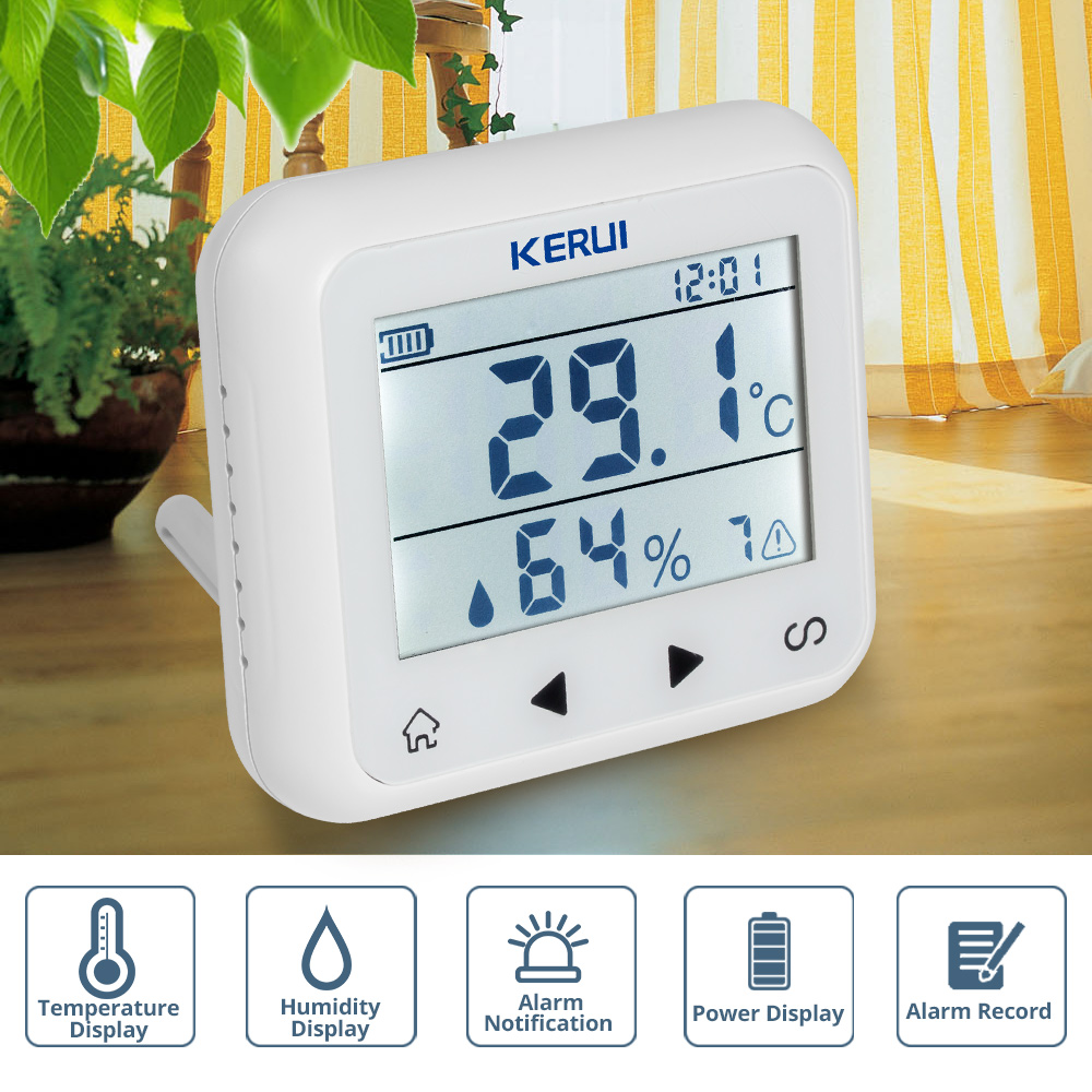 KERUI TD32 LED Display Adjustable Temperature And Humidity Alarm Sensor Detector Alarm Protect the personal and property stange personal property