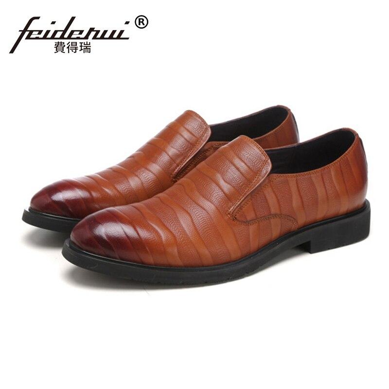 Ss17 Nouvelle Mocassins Arrivée Slip Noir On Chaussures Véritable La Cuir Rond Casual Bout Main Confortable À marron En Rayé Homme roxCeQdBW