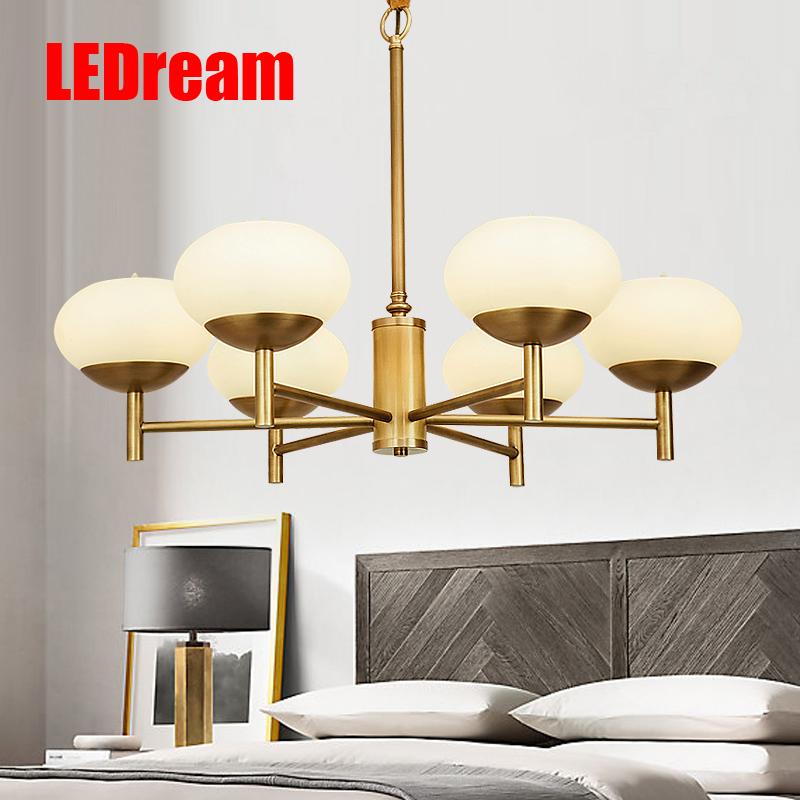 Simple American full copper chandelier fashion contemporary and contracted sitting room the bedroom lamp study restaurant lamps 1 pc contemporary and contracted sitting room led copper dome light in the kitchen